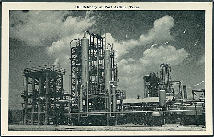 Oil Refinery at Port Arthur, Texas. A Natural-Finish card by Graucraft Card Co. no. P-65.