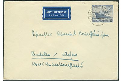 25 pfg. M/S Berlin single på indenrigs-luftpostbrev fra Berlin d. 23.8.1955 til Rinteln/Weser.