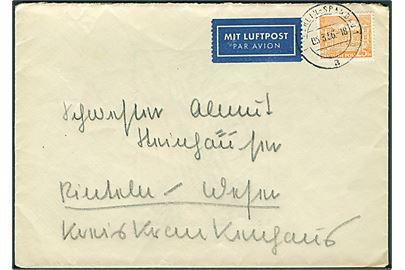 25 pfg. Berlin Tegel Schloss single på indenrigs luftpostbrev fra Berlin-Spandau d. 5.3.1956 til Rinteln.