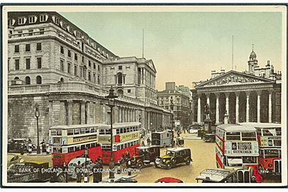 Bank of England and Royal Exchange, London. Dobbeltdækker busser og biler ses. G. 7872.