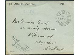 Ufrankeret OAS feltpostbrev stemplet Field Post Office 304 (= Akureyri) d. 28.10.1940 til Scotland. Blåt unit censurstempel no. 1216.