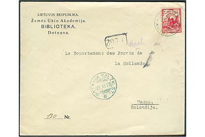 60 cent. Borgruin single på brev fra Dotnuva d. 20.11.1928 til Haag, Holland.