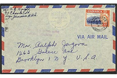 8d Blue Mountain Peak på luftpostbrev fra Kingston d. 4.12.1957 til Brooklyn, USA. Amerikansk stempel: Supposed to contain matter Prohibited importation - formodentlig ulovlig lotteri materiale.