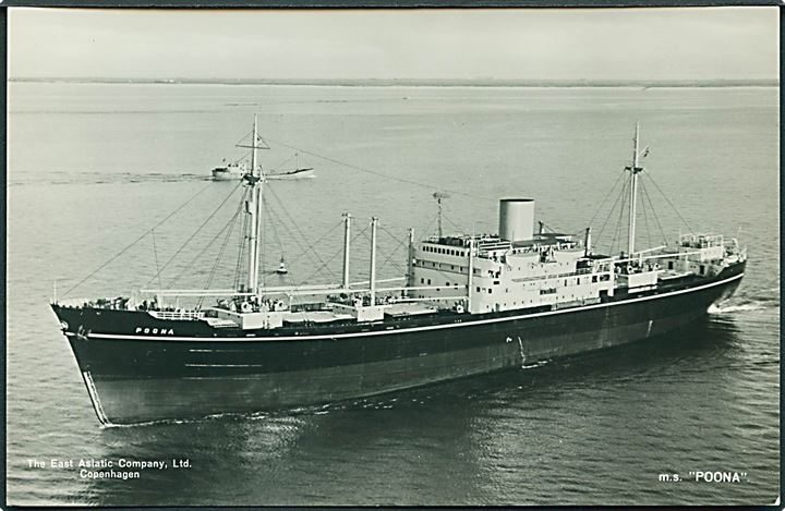 M/S Poona. The East Asiatic Company u/no. Fotokort.