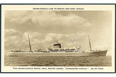 The Union-Castle Royal Mail Motor Vessel Carnarvon Castle. Union - Castle Line to South And East Africa. 13,4 x 8 cm.