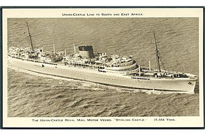 The Union-Castle Royal Mail Motor Vessel Stirling Castle. Union - Castle Line to South And East Africa. 13,3 x 7,9 cm.