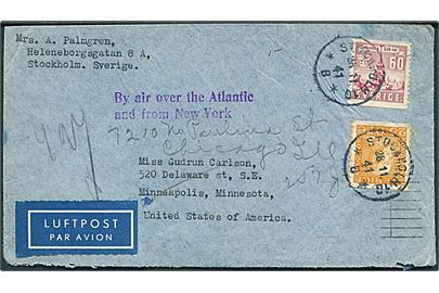 25 öre Gustaf og 60 öre Skansen på luftpostbrev fra Stockholm d. 28.11.1941 til Minneapolis, USA - eftersendt til Chicago. Violet stempel: By air over the Atlantic and from New York.