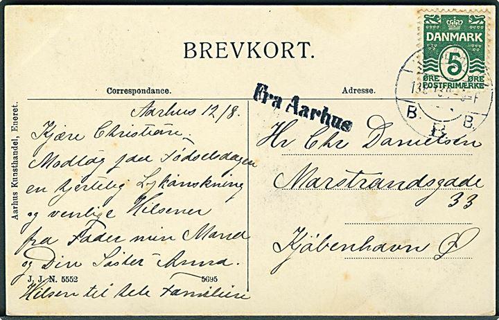 5 øre Bølgelinie på brevkort (Aarhus ved Clemensbro med sporvogn