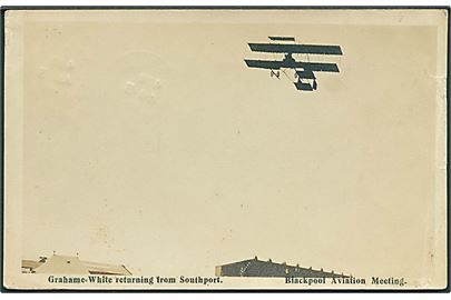 Blackpool Aviation Meeting 1910. Grahame-White returning from Southport. U/no.  Kvalitet 6