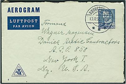60 øre Fr. IX helsags aerogram (fabr. 8) fra Nørresundby d. 13.12.1953 til Danish Arctic Contractors APO 858 (= Narssarssuaq Air Base, Grønland) via New York, USA.