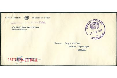 Ufrankeret fortrykt tjenestekuvert stemplet United nations Emergency Force 2 d. 12.2.1962 til Struer, Danmark. Fra Procurement Sub-Section Rafah c/o UNEF Base Post Office Beirut, Lebanon. Rødt stempel: Certified Official.