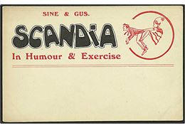 Reklamekort for Sine & Gus Scandia. In Humour & Exercise. Hines u/no.