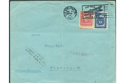 ½ c. og 8 c. på skibsbrev fra Barranquilla annulleret med amerikansk stempel i Philadelphia d. 5.7.1928 og sidestemplet Paquebot til Hamburg, Tyskland. Privat skibsstempel: via S.S Bolivar / Colombian S.S. Co. Inc. / 17 Battery Place, N.Y.C. Lodret fold.