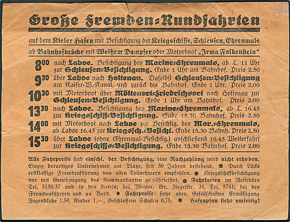 Grosse Fremden Rundfahrten Reklame Med Kort Over Kieler