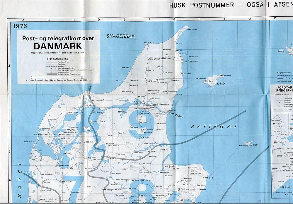 Post Og Telegrafkort Over Danmark Med Postnumre Udgivet 1975 1975