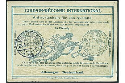 25 pfg. International Sverkupon stemplet Berlin d. 28.4.1915.