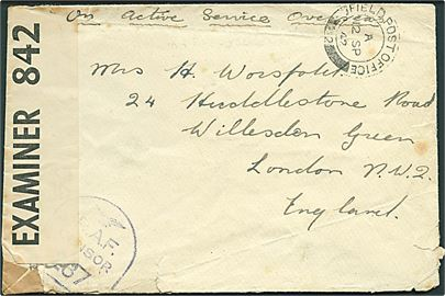 Ufrankeret OAS feltpostbrev stemplet Field Post Office 2 (= Reykjavik) d. 2.9.1942 til London, England. RAF Censor no. 287 og åbnet af civil censur PC90/842.