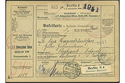 5,40 mk. bar-frankeret internationalt adressekort for pakke med ovalt rødt stempel Berlin NW5 * Gebühr bezahlt d. 22.5.1929 via Kjøbenhavn til Reykjavik, Island. Ank.stemplet Reykjavik d. 2.7.1929.
