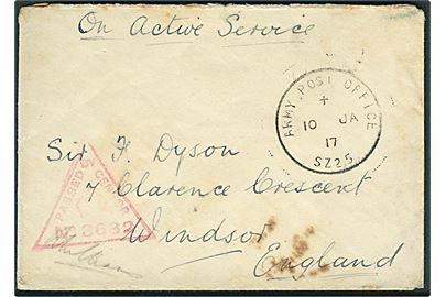 Ufrankeret feltpostbrev med skeleton Army Post Office SZ25 (= Suez Canal) d. 10.1.1917 til Winsor, England. Unit censor no. 3682