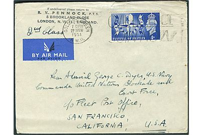 4d Festival of Britain single på 2. kl. luftpostbrev fra London d. 22.11.1951 til den Rear Admiral George C. Dyer, U.S. Navy, Commander United Nations Blockade and Escort Force c/o Fleet Post Office, San Francisco, USA. Til den øverstkommanderende for flådestyrkerne under Korea-krigen.