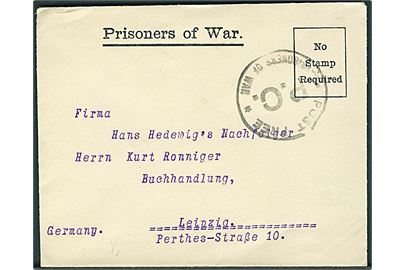 Ufrankeret fortrykt krigsfangebrev fra tysk fange under 1. verdenskrig i Handforth Detention Camp, England til Leipzig, Tyskland. Sort stempel: Post Free / P.C. / * Prisoners of War *