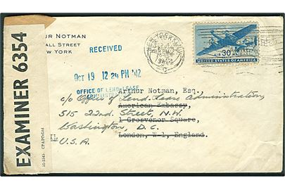 30 cents Transport på luftpostbrev fra New York 1942 til American Embassy, London, England - eftersendt til Office of Lend - Lease Administration i Washington DC. Åbnet af britisk censur PC90/6354.