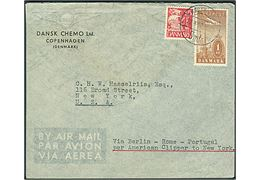 15 øre Karavel og 1 kr. Luftpost på luftpostbrev fra København d. 12.4.1940 til New York, USA. Påskrevet: via Berlin-Rome-Portugal pr. American Clipper to New York. Uden tegn på censur.