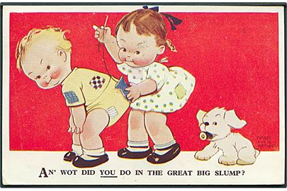 Mabel Lucie Attwell: An' wot did you do in the great big slump?. Valentine & Sons Attwell Postcars no. 2314.