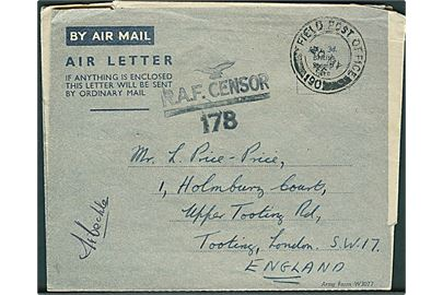 Ufrankeret Forces Air Letter stemplet Field Post Office 190 (= Port Tewfiq, Suez) d. 20.5.1945 til London. RAF Censor 178. Fra Sgt. i Royal Air Force med afsender APO 8490.