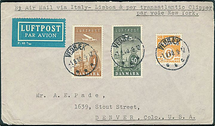 6 øre Bølgelinie, 50 øre og 1 kr. Luftpost på luftpostbrev fra Vedbæk d. 1.8.1940 til Denver, USA. Påskrevet: By Air Mail via Italy-Lisboa & per transatlantic Clipper par voie New York. Uden spor efter censur.