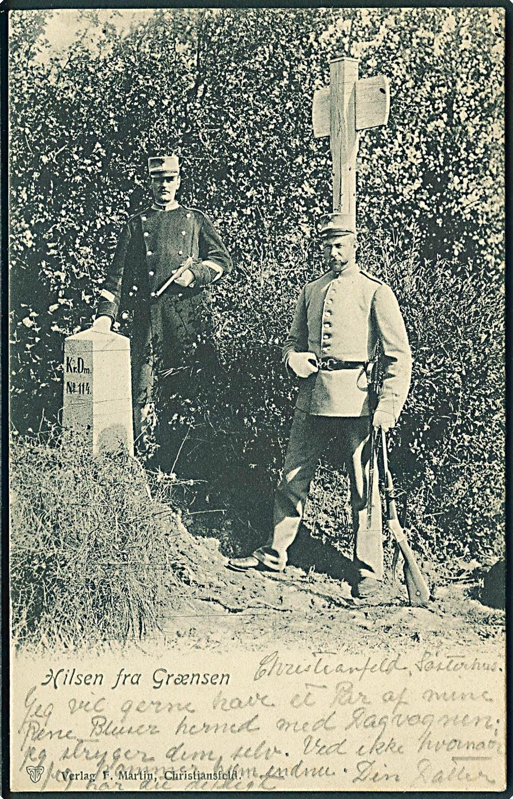 Grænsegendarmer (A P Andersen og Niels Lauritsen Nielsen) ved den
