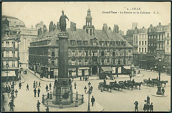 Lille. Grand'Place - La Bourse et la Colonne. E. C. Syndicat D'Initiative Les Amis de Lille no. 2.