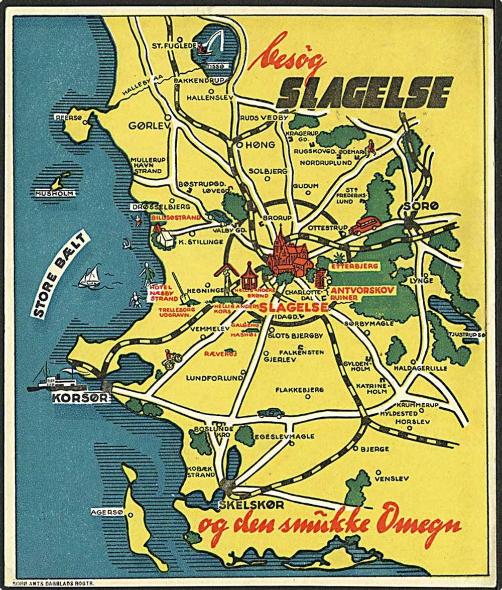 Besog Slagelse Kort Over Soro Amts Dagblad U No 1938 4200 Danmark