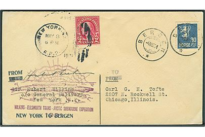 Amerikansk 2 cents Washington stemplet New York d. 8.5.1931 og norsk 30 øre Løve stemplet Bergen d. 4.8.1931 på Wilkins-Ellsworth Trans-Arctic Submarine Expedition brev til Chicago, USA. Signeret af Hubert Wilkins.