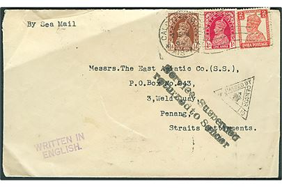 ½ a., 1 a. og 2 as. George VI på brev fra Calcutta d. 8.12.1941 til East Asiatic Co. i Penang, Straits Settlements. Returneret med sort stempel: Service Suspended return to Sender pga. den japanske besættelse. Indisk censur.
