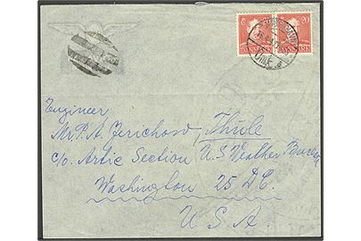 20 øre Chr. X i par på luftpostbrev fra København d. 16. 4.1947 til Thule via U.S. Weather Bureau, Washington. Luftpost annulleret med stumt stempel. På bagsiden stemplet: Received APR 21 1947. Arctic Section, U.S. Weather Bureau / Forwarded to Thule, Greenland.