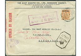"2 As 6 Ps. George V ""Burma"" provisorium med perfin ""EAC"" på firmakuvert fra East Asiatic Co. i Rangoon d. 31.12.1941 til EAC i Singapore. Rammestempel ""Service Suspended / Return to Sender"" og returneret til Calcutta i august 1942, da både Singapore og Rangoon var japansk besat. Åbnet af indisk censur."
